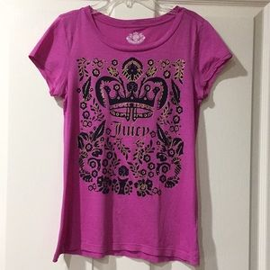 Juicy Couture Magenta Black Crown Gold Shirt Small